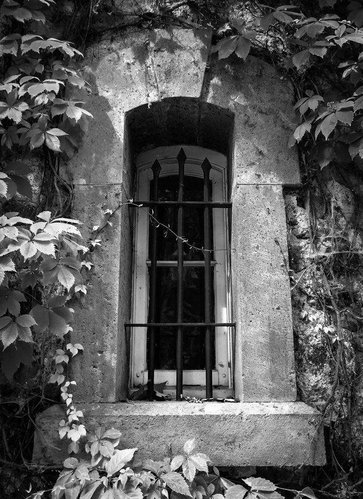 black and white old stone building Winery window