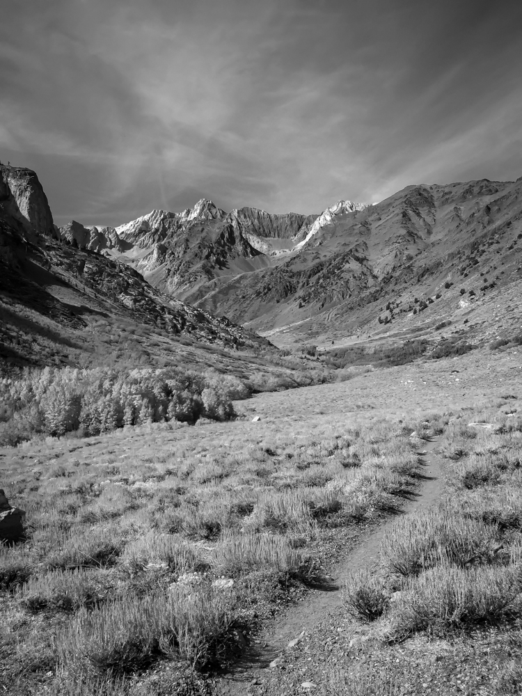 mountains black and white trail McGee Creek area - Eastern Sierra