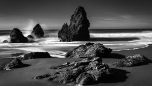 Rodeo Beach Marin County long exposure of surf