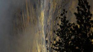 mountain waterfall east face of El Capitan Yosemite National Park winter