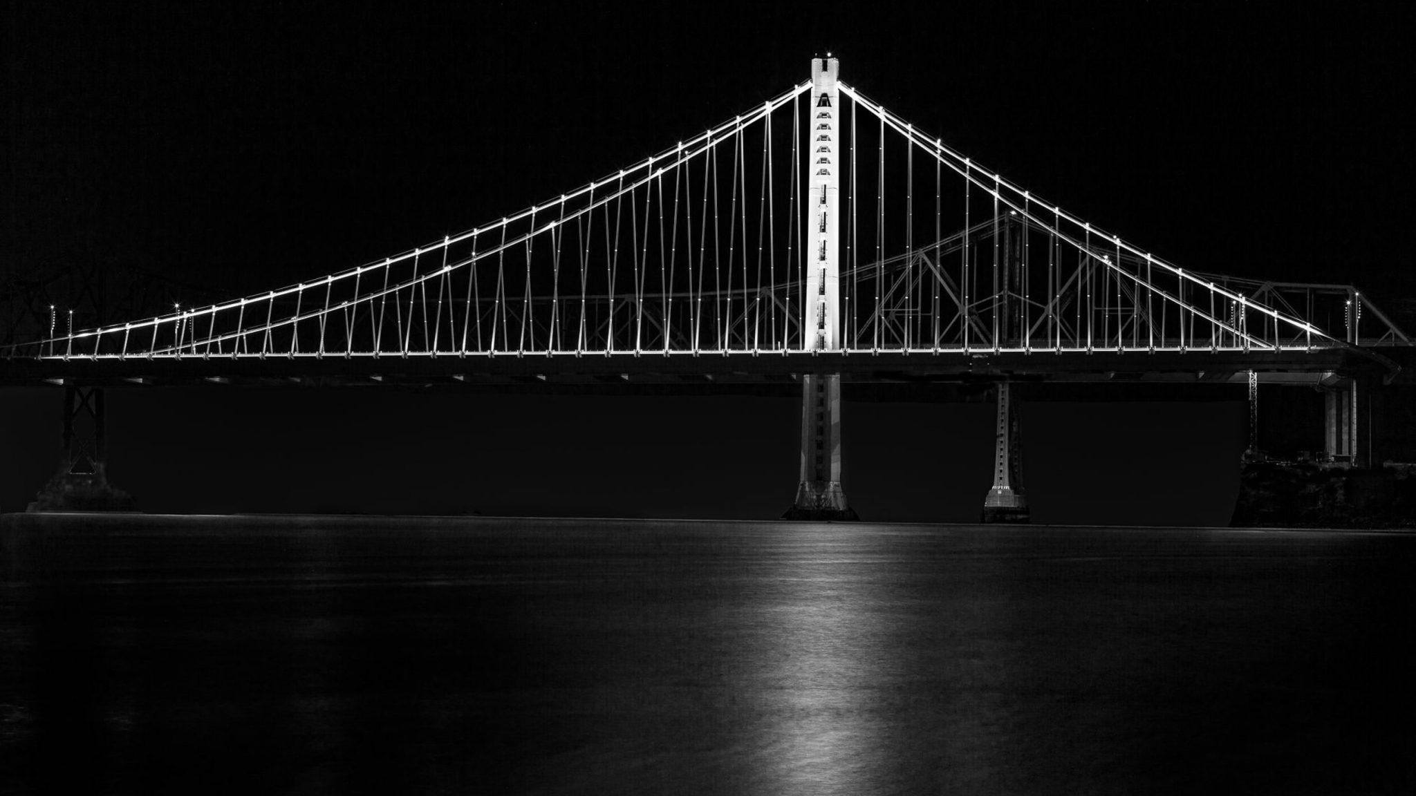 bay bridge san francisco black white nighttime