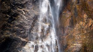 A closeup image of a portion of Yosemite Falls in Winter - Yosemite NP