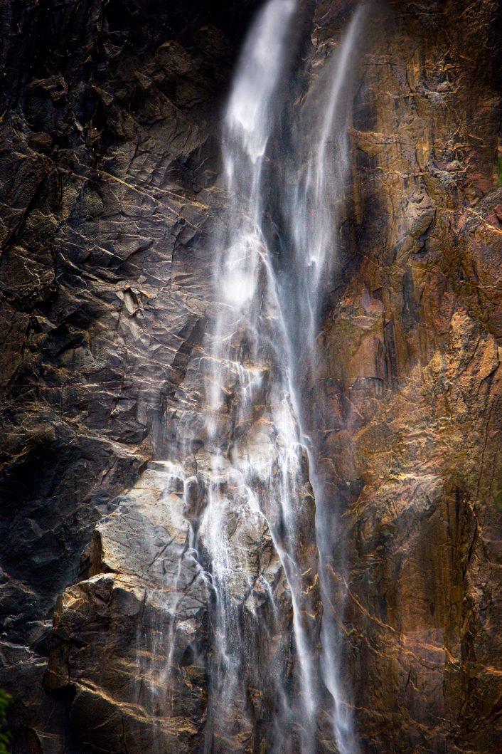 A closeup image of a portion of Yosemite Falls in Winter - Yosemite NP