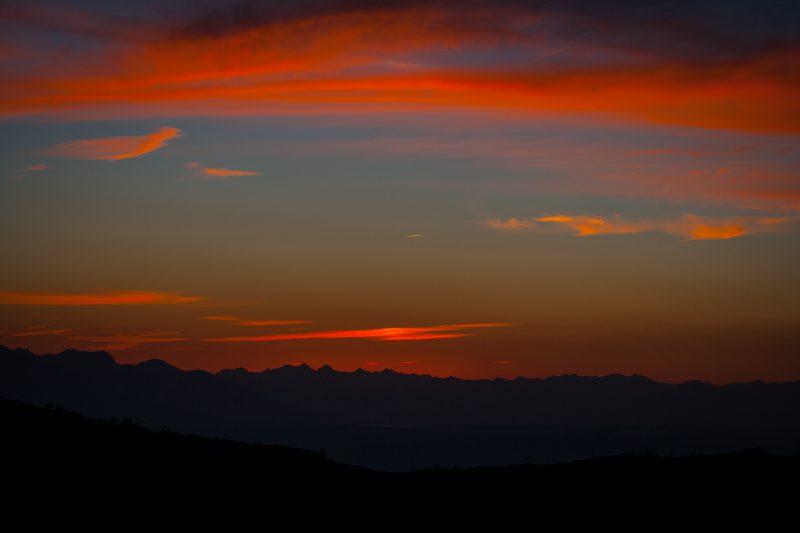 deep color sunset of mountain range